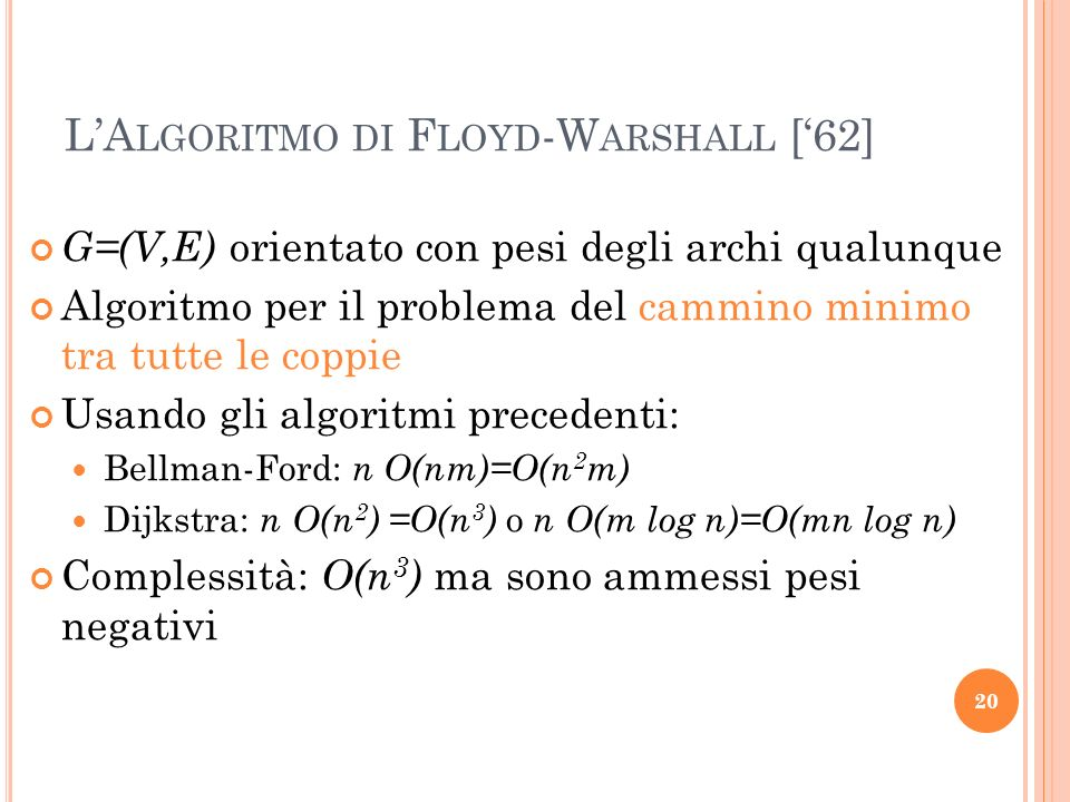 L'Algoritmo di Floyd-Warshall ['62]